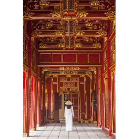 - Woman Wearing Ao Dai Dress in Imperial Palace Inside Citadel, Hue, Thua Thien-Hue, Vietnam (Mr) Print Wall Art By Ian Trower