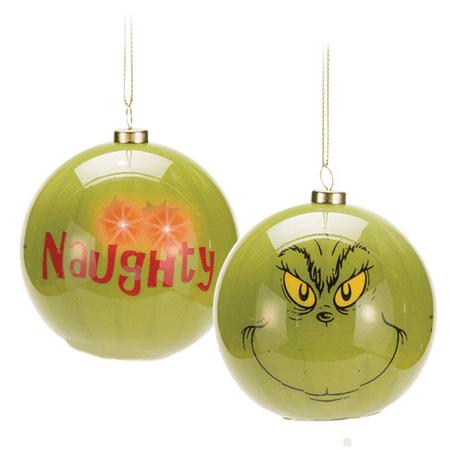 Vandor Dr Seuss Grinch Big Face Led Ball Ornament