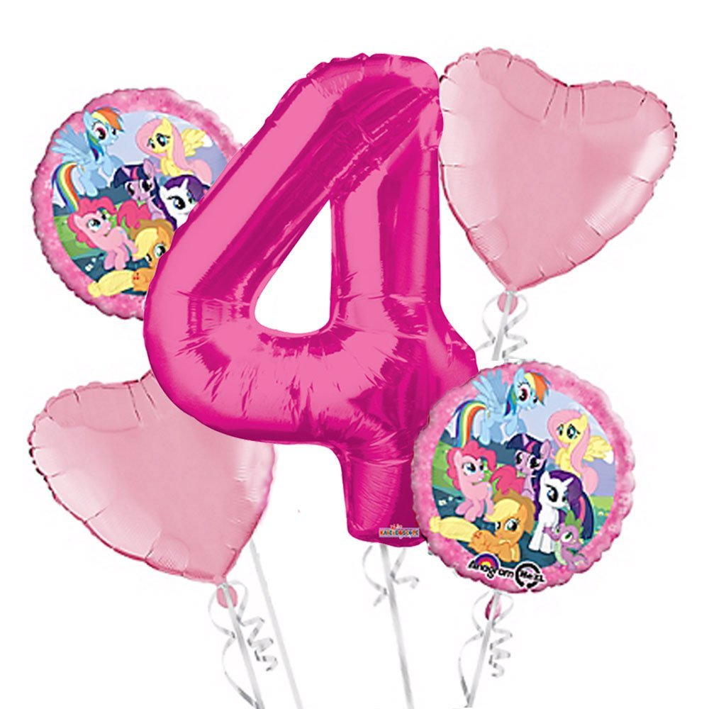 My Little Pony Balloon Bouquet 4th Birthday 5 pcs - Party Supplies Pink, 1 Giant Number 4 Balloon, 34in By Viva Party