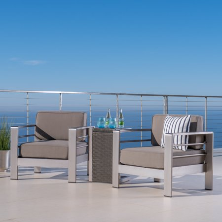 Aluminum Outdoor Chair (Miller Outdoor Aluminum Club Chairs with a Wicker Side Table, Khaki, Grey )