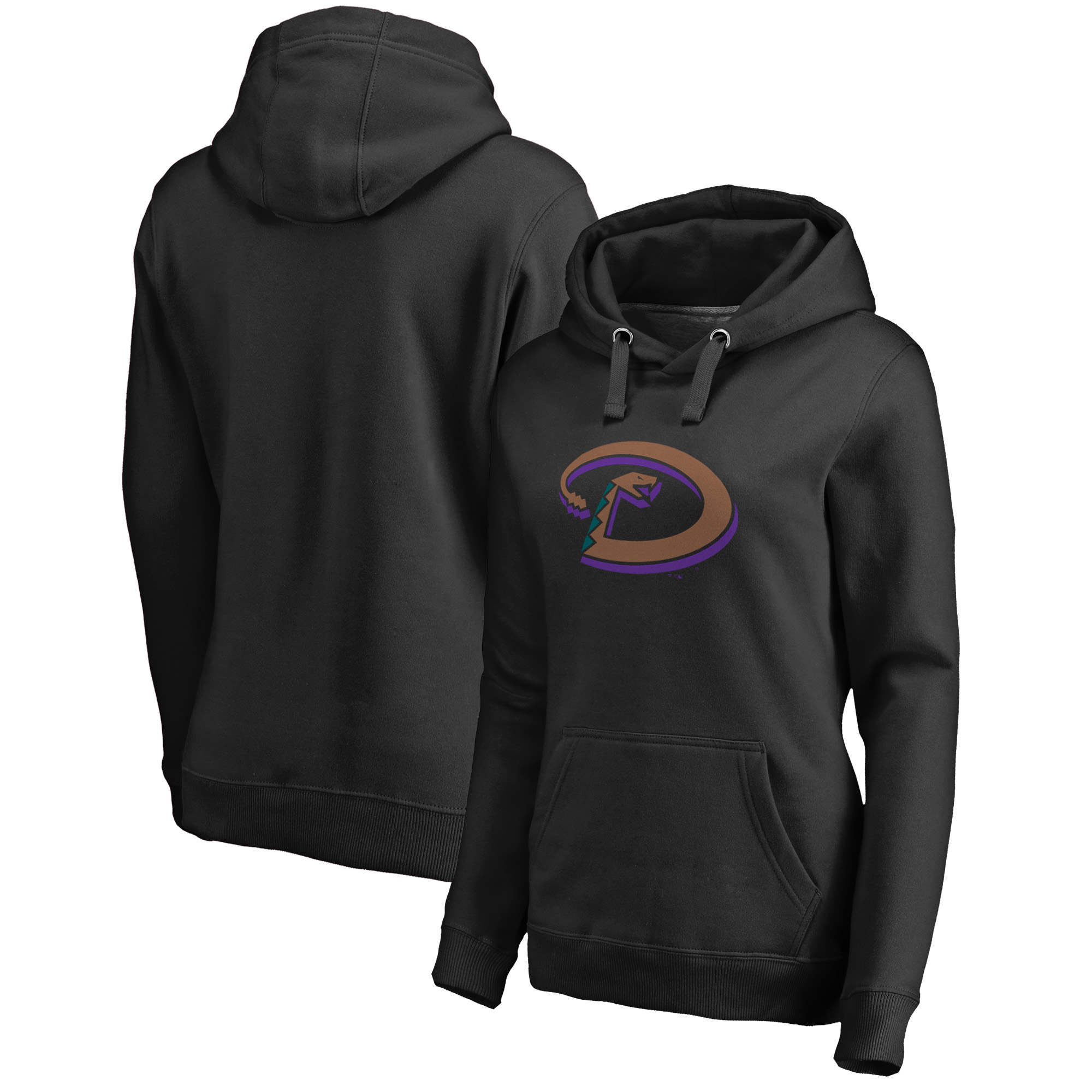 Arizona Diamondbacks Fanatics Branded Women's Plus Size Cooperstown Collection Forbes Pullover Hoodie - Black
