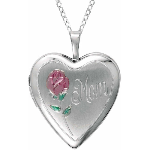 """Sterling Silver Heart-Shaped """"Mom"""" with Rose Locket by Generic"""