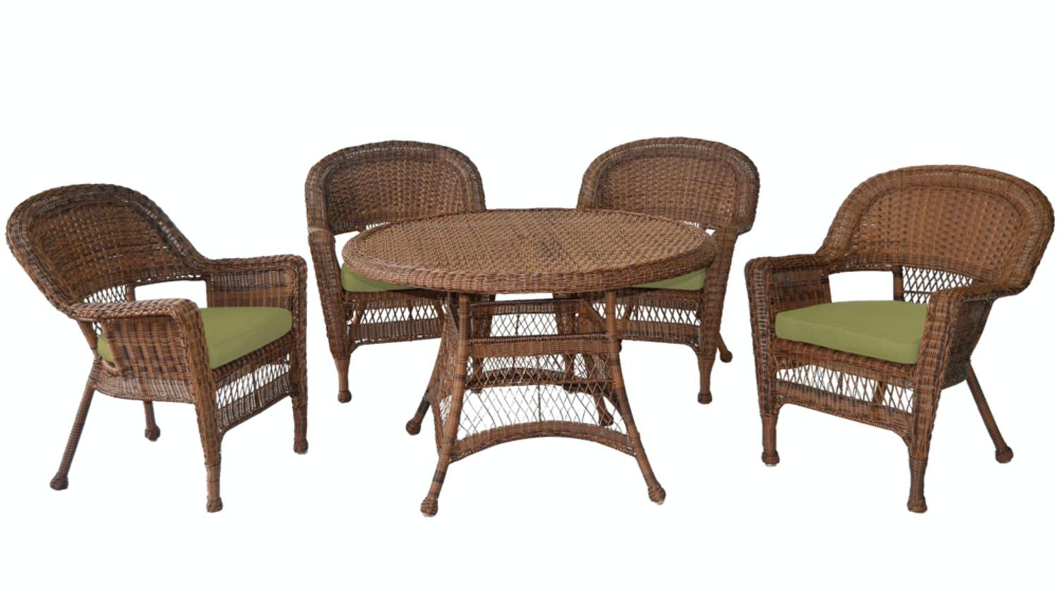 5-Piece Honey Resin Wicker Chair & Table Patio Dining Furniture Set Green Cushions by CC Outdoor Living
