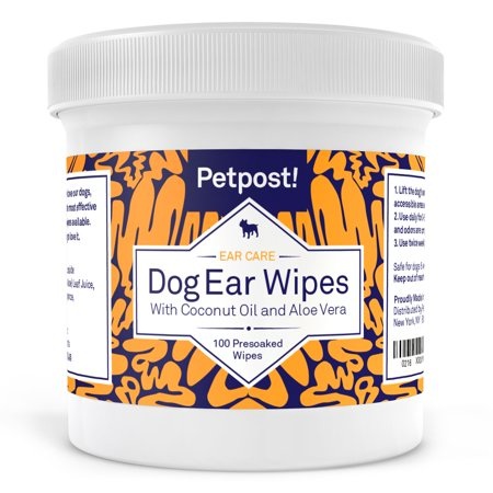 Petpost   Dog Ear Cleaner Wipes   100 Ultra Soft Cotton Pads In Coconut Oil Aloe Solution   Remedy For Dog Ear Mites   Dog Ear Infections