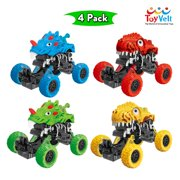 Dinosaur Pull Back Cars Toys - 4-Pack Colorful Dinosaur Car Toy Mini Pullback Vehicles with Big Tires - Great Present for Kids Toddlers Boys and Girls Ages 2, 3, 4 -12 Year Old