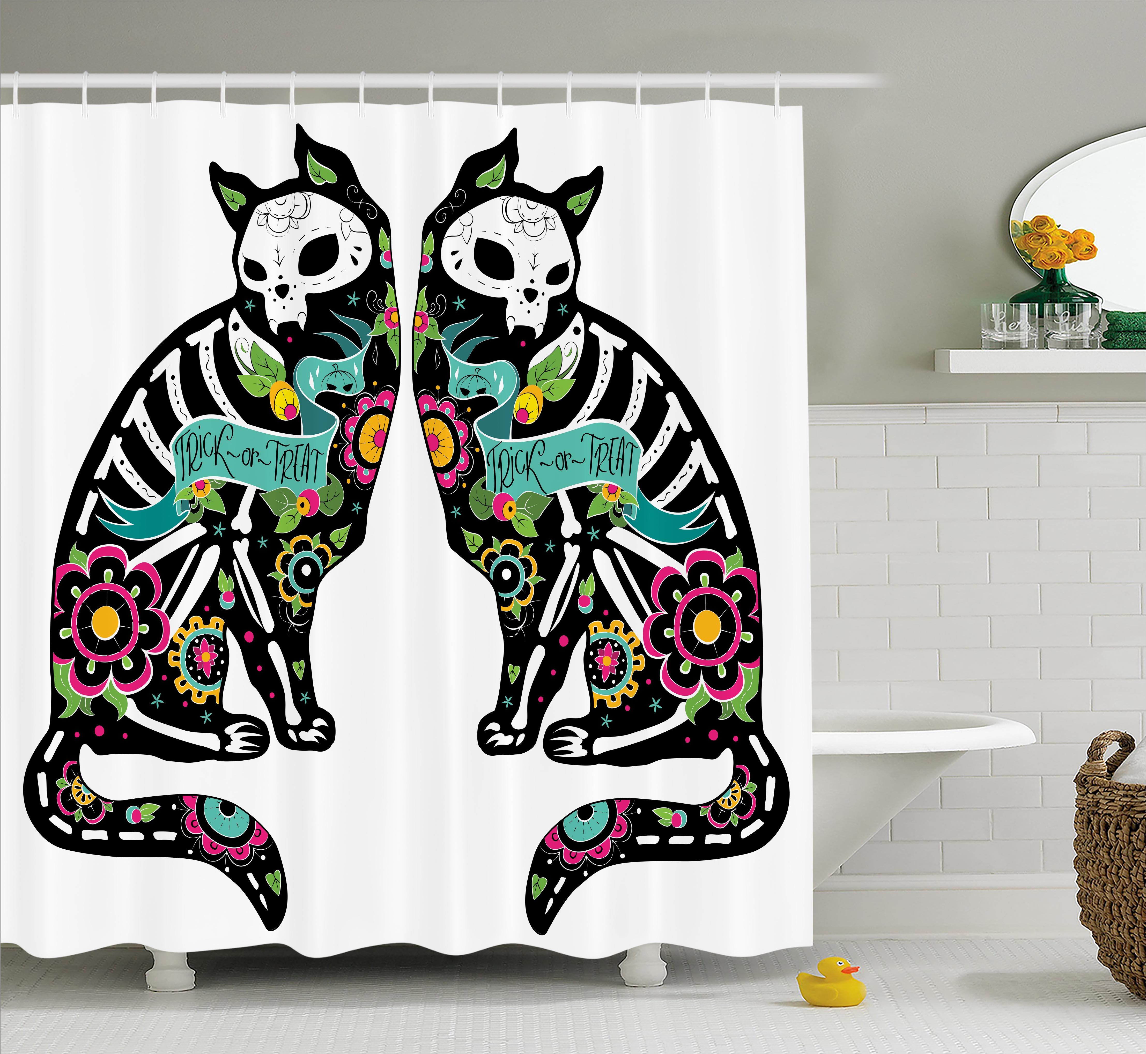 Day Of The Dead Decor Shower Curtain, Skeleton Cats Festive Celebration Spanish Art Print, Fabric Bathroom Set with Hooks, 69W X 70L Inches, Black White Turquoise Pink, by Ambesonne