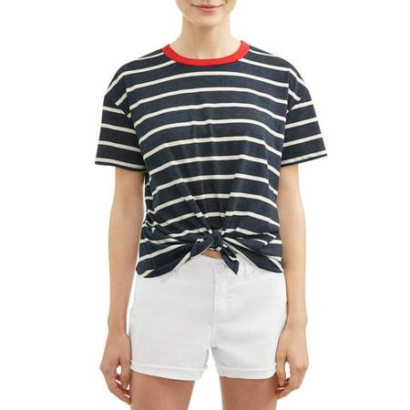 Juniors Tie - No Boundaries Juniors' Tie Front Striped Short Sleeve Ringer T-Shirt