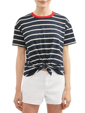 01bea3000 Product Image Juniors' Tie Front Striped Short Sleeve Ringer T-Shirt