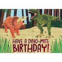 Paper House Productions Dino-Mite Dinosaurs : T-Rex and Triceratops Juvenile Birthday Card for Boys : Kids : Children