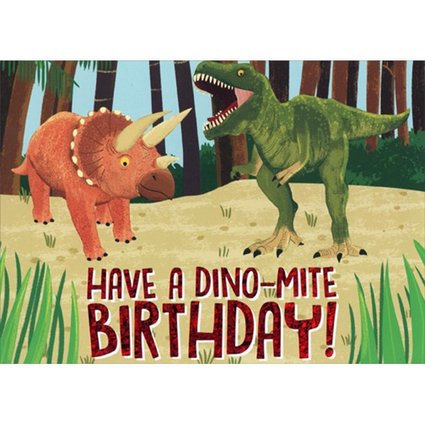 Paper House Productions Dino Mite Dinosaurs T Rex And Triceratops Juvenile Birthday Card For Boys Kids Children Walmart Com Walmart Com