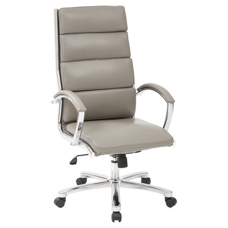 High Back Executive Smoke Faux Leather Chair with Polished Aluminum and Padded Arms and Base ()