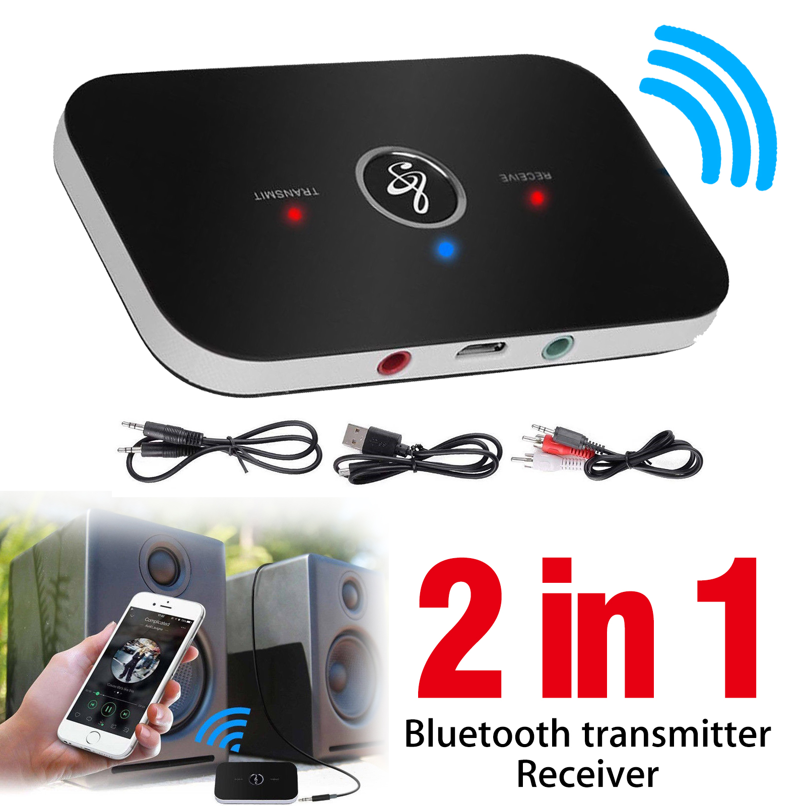 2 in1 Wireless Bluetooth Transmitter/&Receiver A2DP Home TV Stereo Audio Adapter