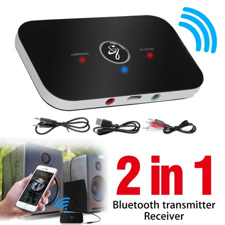 EEEkit 2 in 1 Wireless Bluetooth Transmitter & Receiver A2DP Home TV Stereo Audio Adapter Compatible with TV ,Speaker, PC,CD Player, iPhone, iPod, iPad, Tablets, MP3 Player ()