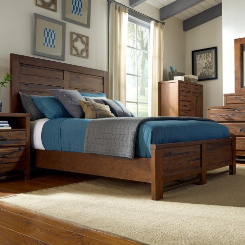 Panel Complete Bed-Finish:Repurposed Poplar,Size:Queen