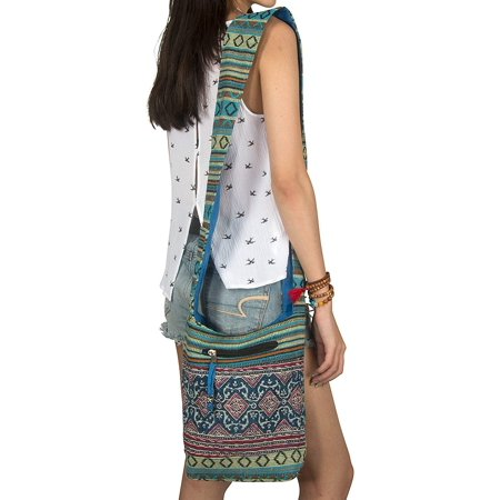 Women Hobo Floral Satchel Messenger Sling Bag Small Medium Everyday Boho Hippie Cute Casual Beach Woven Blue Travel Passport Wallet Purse