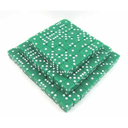 Bulk Dice (Green Opaque Dice with White Pips D6 12mm (1/2in) Bulk Pack of 200 Koplow)