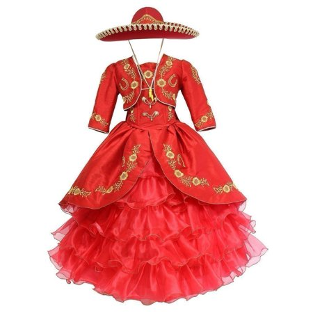 Girls Red Gold Ruffles Embroidery Bolero Hat Mariachi Dress 8](Mariachi Dress)