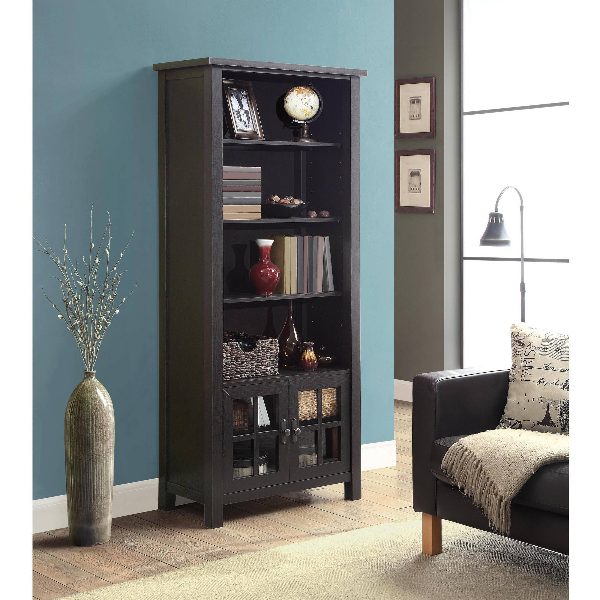 Whalen 72 Audio Tower Bookcase With Doors Espresso Finish Com