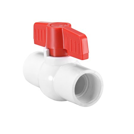 "PVC Ball Valve Water Pipe Threaded Ends 1-1/2"" Inner Hole Dia Red White"