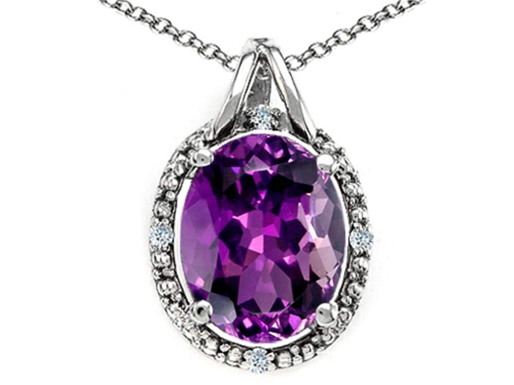 Tommaso Design Oval 10x8mm Genuine Amethyst Pendant Necklace by
