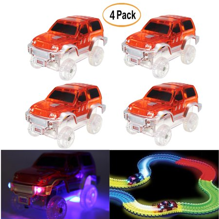4Pack LED Light Up Electric Special Car for Shining Race Track with Flashing Lights Children Gift