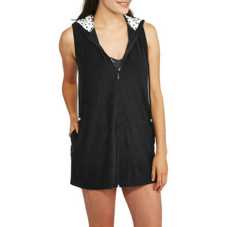 94a8b5d4eb042 Catalina - Women's Zip-Front Hooded Terry Swim Cover-Up - Walmart.com
