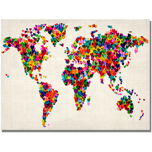 "Trademark Art ""Hearts World Map"" Canvas Art by Michael Tompsett"