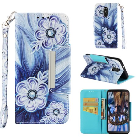 Case for LG Stylo4/ LG Q Stylus, Allytech PU Leather 3D Printing Wallet Case Inner Soft Bumper with Durable Magnetic Closure & Wrist Strap Kickstand Case For LG Stylo4/ LG Q Stylus, Button Flower