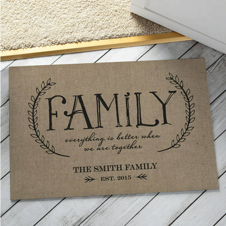Personalized Our Family Doormat, Beige
