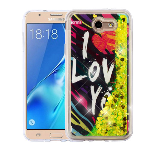 For Samsung Galaxy Halo/J7 Liquid Bling Glitter Hybrid Rubber Protector Cover