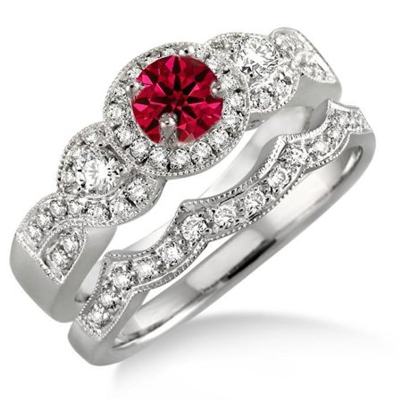Star Ruby Wedding Set (2 Carat Round Cut Real Ruby and Diamond Bridal Wedding Ring Set with Engagement Ring and Wedding Band in 18k Gold Over Silver)