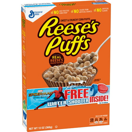 (2 Pack) Reese's Peanut Butter Puffs Breakfast Cereal, 13 oz