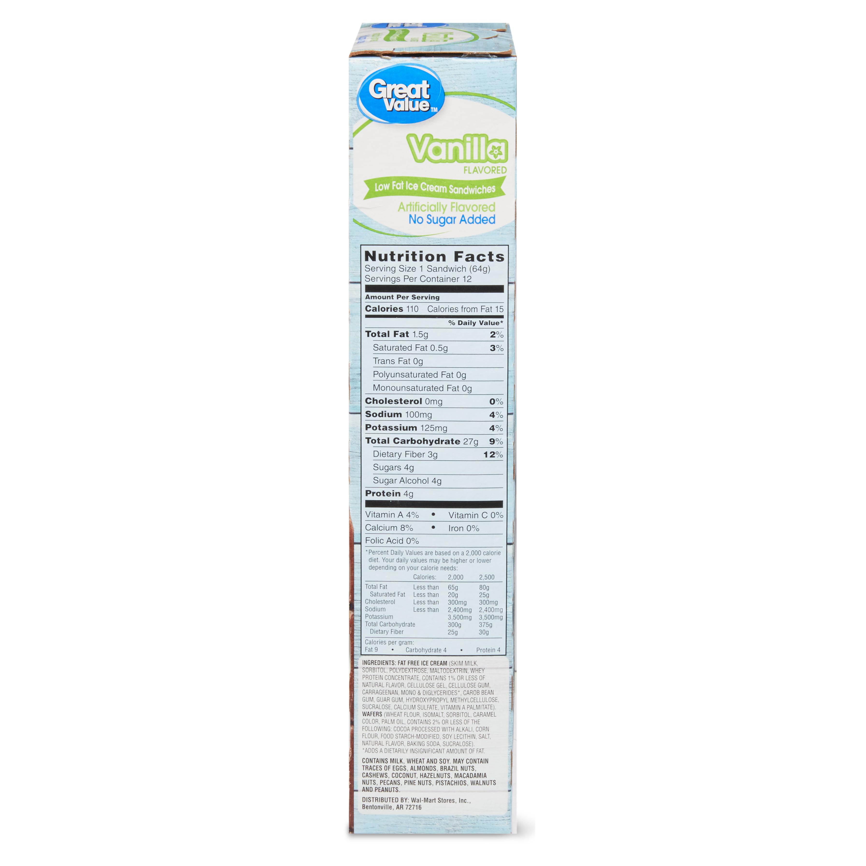 Great Value Vanilla Flavored Low Fat Ice Cream Sandwiches, 42 oz, 12 Count