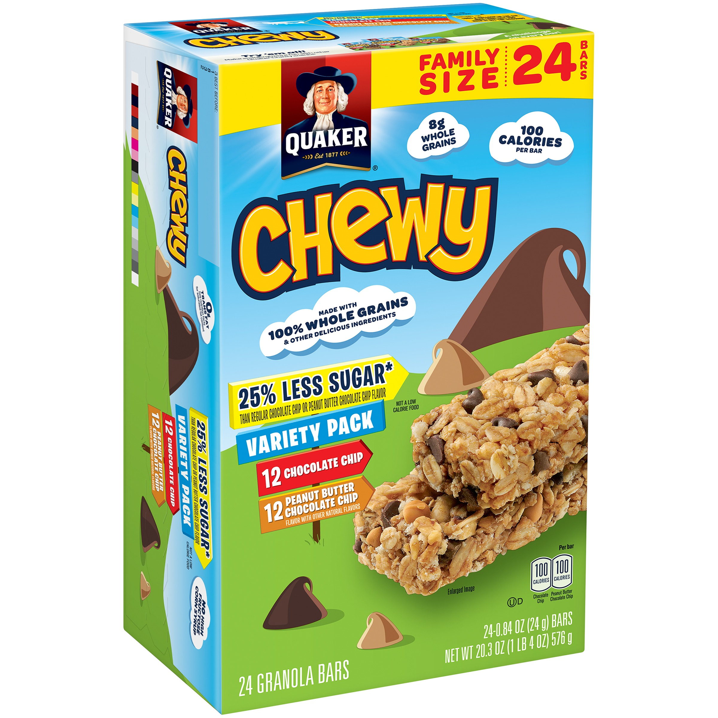 Quaker Chewy Granola Bars, Less Sugar Variety Pack, 24 Count