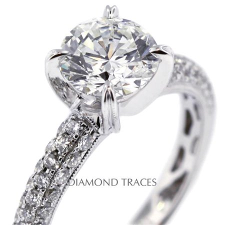 Diamond Traces D-L2387-1-KR7313_XD150-7484 1.72 Carat Total Natural Diamonds 18K White Gold 4-Prong Setting Engagement Ring with Milgrains Engagement Ring - image 1 of 1