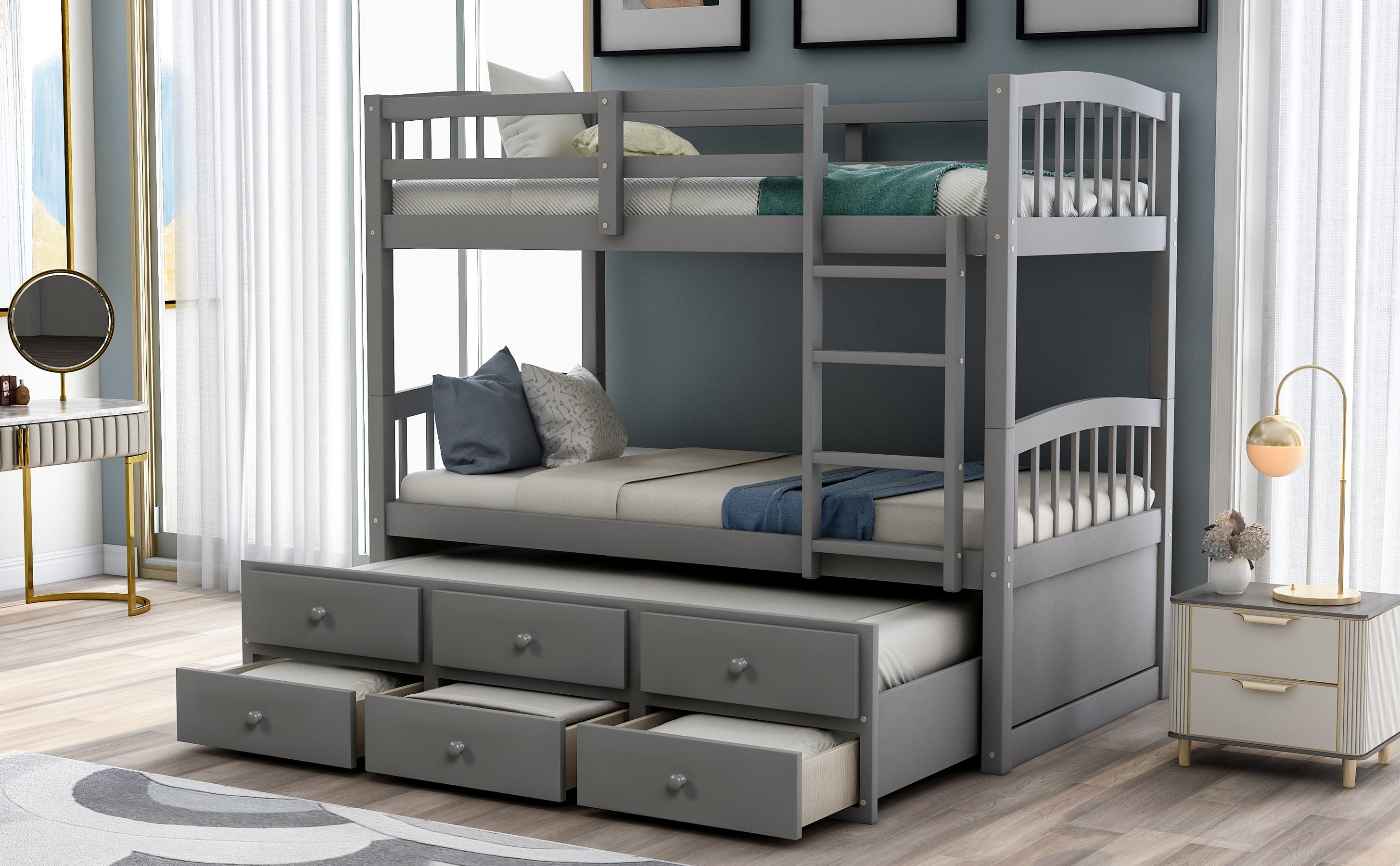 Picture of: Twin Trundle Bunk Bed With 3 Storage Drawers Modern Twin Bunk Bed With Ladder And Safety Rail Twin Over Twin Bunk Bed Frame For Kids Teens Bedroom Bunk Bed Frame Twin Over