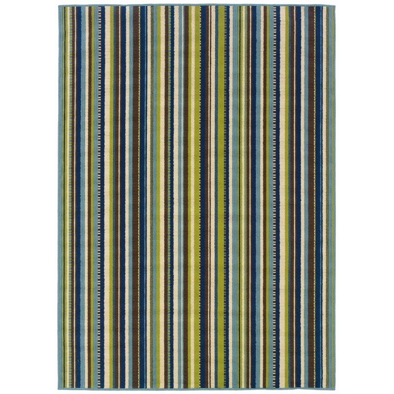 Sphinx Caspian Area Rugs - 1004X Outdoor Blue Patio Lines Stripes Rug