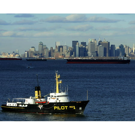 Canvas Print New York City Water Harbor Pilot Boat Ships Boats Stretched Canvas 10 x (German U Boat In New York Harbor)