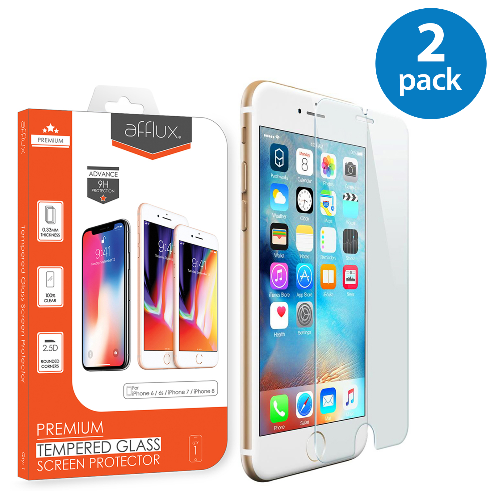 2x Afflux Apple iPhone 8 Tempered Glass Screen Protector Film Guard Case Friendly For iPhone 8