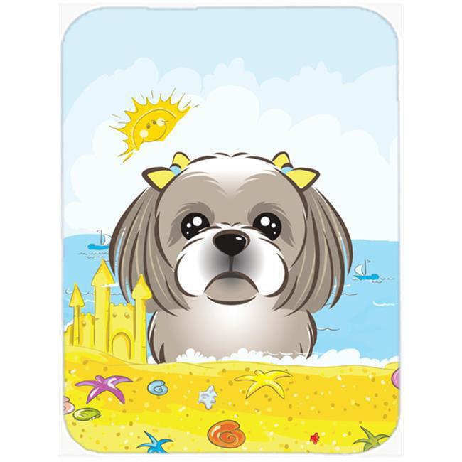 Gray Silver Shih Tzu Summer Beach Mouse Pad, Hot Pad or Trivet