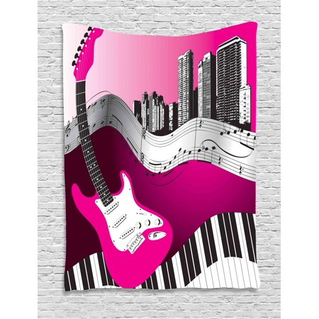 Music Tapestry, Bass Guitar Keyboard Urban Rock Backdrop Rhythm of City Illustration, Wall Hanging for Bedroom Living Room Dorm Decor, Hot Pink Pale Grey Black, by Ambesonne (Rock Tapestry Wall Hanging)