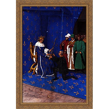 Charles V gives the sword of constable to Bertrand du Guesclin 28x40 Large Gold Ornate Wood Framed Canvas Art by Jean - God Sword