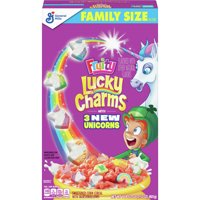 General Mills, Lucky Charms Breakfast Cereal, Fruity, Marshmallow Cereal, Family Size, 21.2 oz