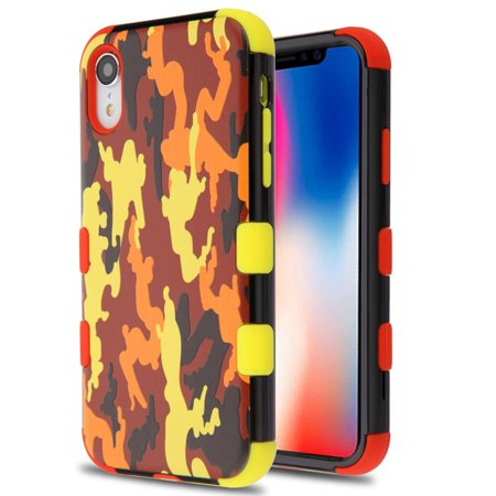 Insten Tuff Fall Camouflage Dual Layer [Shock Absorbing] Hybrid Hard Plastic/Soft TPU Rubber Case Cover For Apple iPhone XR, Red/Yellow - image 5 of 5