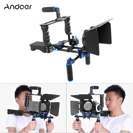 Andoer D221 Aluminum Alloy Camera Camcorder Video Cage Kit Film Making System with Cage Shoulder Pad 15mm Rod Matte Box Follow Focus Handle Grip for Canon Nikon (Best Nikon Camera For The Money)