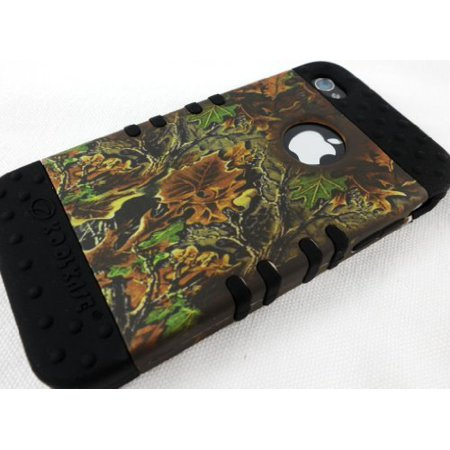 Black Sparkle Faceplate - Apple iPhone 4 4s Faceplate - Camo Black Hybrid Rocker Series Case Cover