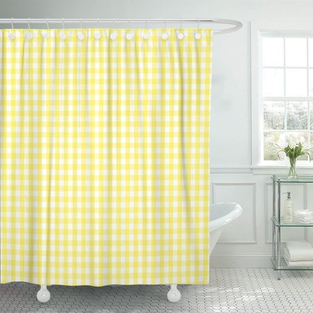 PKNMT Cheerful Rustic Traditional Gingham Checked Pattern in Yellow Polyester Shower Curtain 60x72 inches](Yellow Gingham)