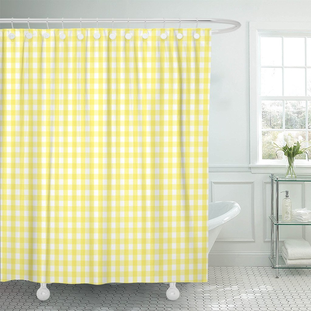 PKNMT Cheerful Rustic Traditional Gingham Checked Pattern in Yellow Polyester Shower Curtain 60x72 inches