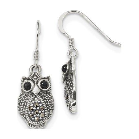 Sterling Silver Marcasite Ribbon - Leslies Fine Designer Sterling Silver Sterling Silver Marcasite & Black Agate Owl Shepherd Hook Earrings (Length=32) (Width=11)