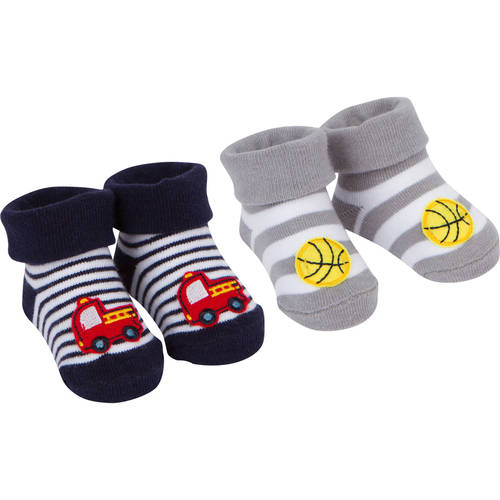 Newborn Baby Boy Jersey Bootie Sock, 2-Pack